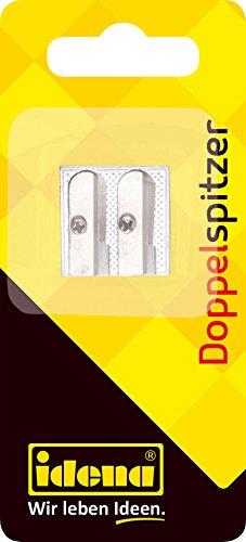 Idena 520051 - Doppelanspitzer aus Metall, Keilform, für dünne und dicke Stifte, 1 Stück