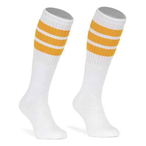 skatersocks 22 Inch kniehohe gestreifte Damen Socken Kniestrümpfe knee high overknee Herren Retro Tube Socks weiss - gelb gestreift - UNISEX - OSFA