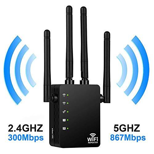 ZYT Wireless Router WiFi Repetidor, 300-1200Mbps 2.4G 5G de Doble Banda Wi-Fi Amplificador de la señal Amplificador de señal de Red Extensor de Alcance