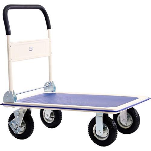 Transportwagen Lagerwagen Paketwagen mit Antirutschbeschichtung | Tragkraft 300 kg | 875 x 575 mm Plattformgröße | Schiebebügelwagen mit Luftbereifung