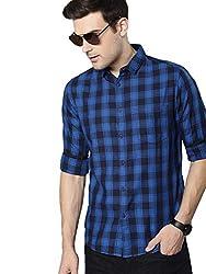 Dennis Lingo Mens Checkered Blue Slim Fit Casual Shirt
