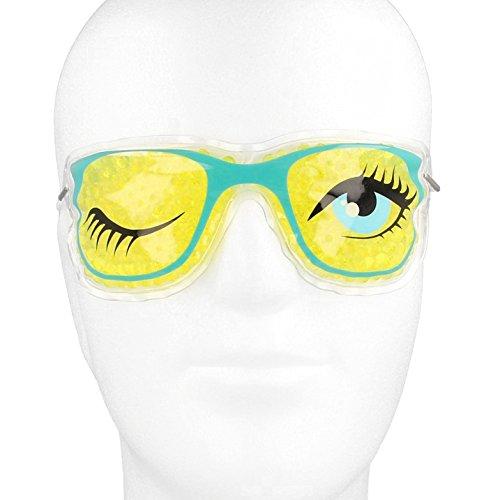 Kühlbrille für Augen mit farbigen Gel-Perlen┇ Kühlmaske Kühlpads Gelbrille Augenkompresse Augenringe - Medipuls (Gelb - 1 Auge zu)