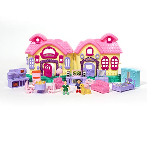 ihubdeal 21-Pieces Cottage My Sweet Surprise Fold-and-Go Dollhouse Light & Sound Mini Doll House