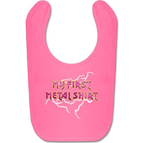 Sprüche Baby - My first Metal Shirt mit Blitzen rosa - Unisize - Pink - My first Metal Shirt - BZ12 - Baby Lätzchen Baumwolle