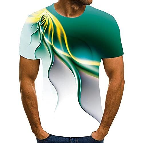 Streetwear Hombres Verano Cuello Redondo Deporte Manga Corta Hombres Shirt Estilo Hip Hop 3D Abstracto Novedad Impresión Hombres Shirt Casual Personalidad Creativa Hombres T-Shirt T05 5XL