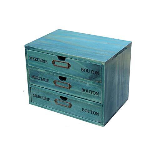 Cajones de Almacenamiento de Madera Retro, Aesy Gabinete de Escritorio para la Joyería Organización Cosmética 1/2 / 3-Capa Cajones (3 Cajónes, Azul)