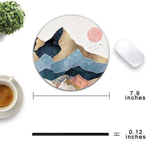 HOPONY Mouse Pad with Stitched Edge, Premium-Textured Mouse Mat with Waterproof Non-Slip Rubber Base, Cute Round Mousepad for Laptop Computer Office Desk Accessories,7.9 x 7.9 inch, Mountain Sunrise Photo #2