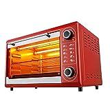 48L eléctrico Mini Horno con Bandeja de Horno y la Parrilla, múltiples Funciones de cocción & Grill, Temperatura Ajustable Control 0~230 ?, Timer 1600W (Color : Red)