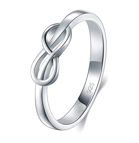 BORUO 925 Sterling Silver Ring, High Polish Infinity Symbol Tarnish Resistant Comfort Fit Wedding Band Ring Size 11
