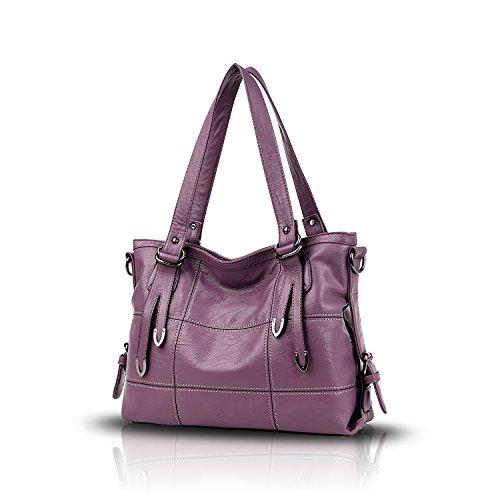 Tisdaini® Damenhandtaschen Mode Hohe Kapazität Geschäft Schultertaschen Freizeit weich Leder Shopper Umhängetaschen Lila