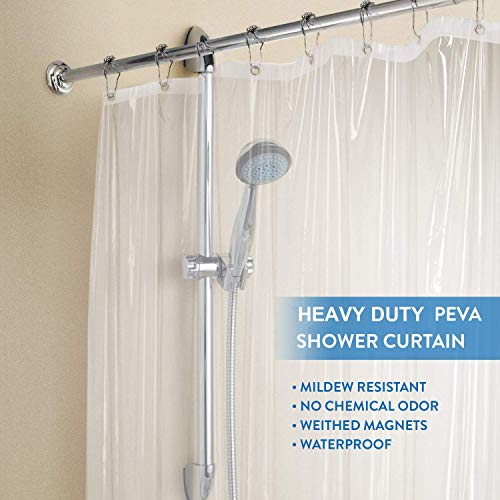 downluxe Heavy Duty Shower Curtain Liner Clear - PEVA 8G Waterproof for Bathroom, Rust Proof Grommets, 72x72 Inches, 1PC
