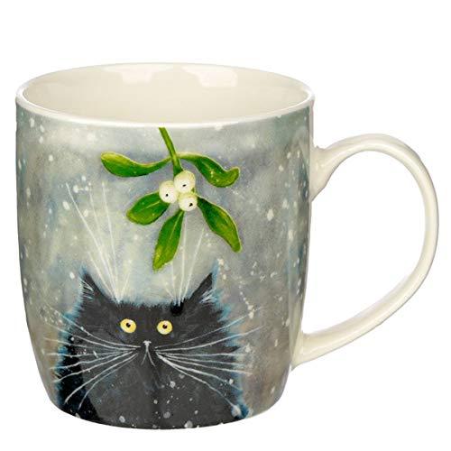 Puckator Weihnachtstasse Katze MIT Mistelzweig Design Kim Haskins aus Porzellan für ca. 330ml - Becher - Kaffeebecher