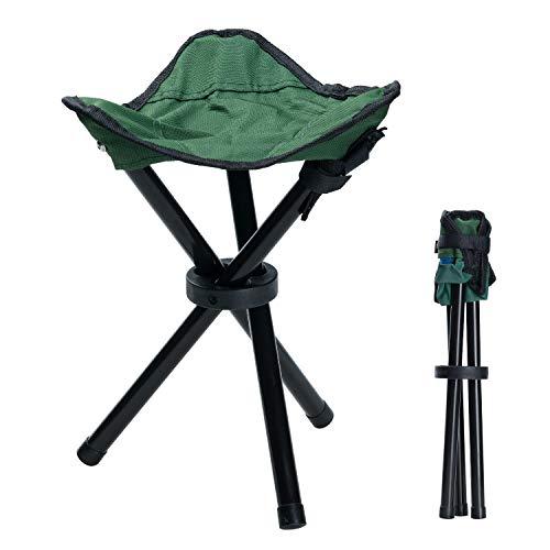 COVVY Taburete de trípode portátil plegable de lona de 3 patas para senderismo, camping, pesca, picnic, playa, barbacoa, viajes, asiento de jardín (verde)