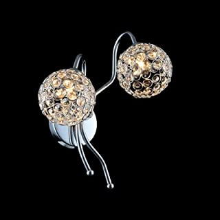 hua Contemporary Globe Design Add Charm to Stunning Crystal Two Light Wall Sconce