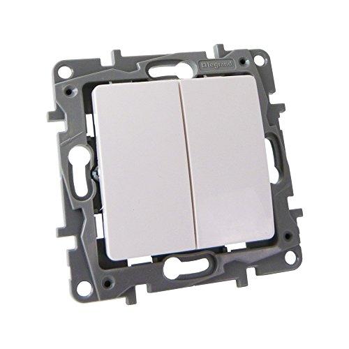 NILOE Eco 764505 Legrand 2093 - Interruptor doble de encendido y apagado (10 A, 250 V, IP20), color blanco