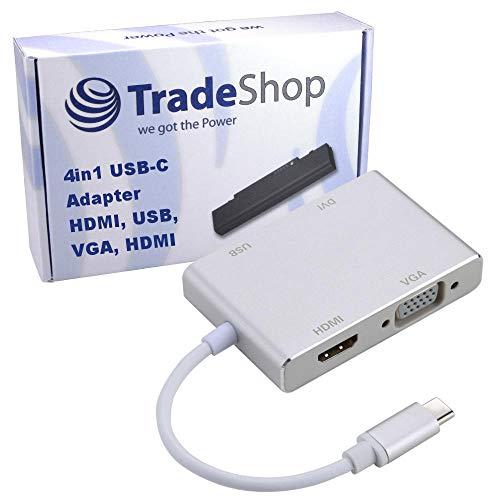 Trade-Shop Adaptador 4 en 1 USB-C Tipo C 4K HDMI/DVI/1080p VGA/USB OTG...