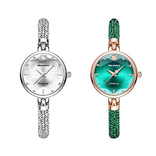 SOOSING Señoras Mira el Reloj analógico de Cuarzo para Las señoras Pulsera de Las señoras Reloj Hermosa niña Correa Pulsera de Reloj Verde pequeño (Color : White)