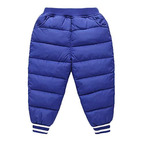 Longra Bébé Filles Garçons Hiver Coton Longue Pantalon Enfants Solide Crayon Chaud Pantalon Mode Casual Trousers Outwear Pantalon Mignon Chic Rayures Pantalon Unisexe Trousers(BleuA,5-6An)