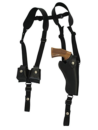 Barsony New Vertical Black Leather Shoulder Holster w/Speed-Loader Pouch for Ruger GP100 Right