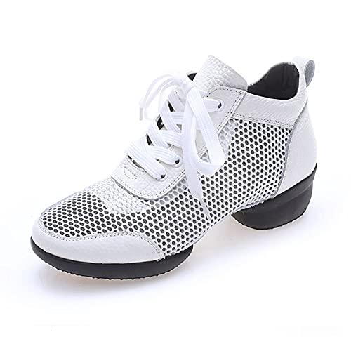 Zapatillas Baile Jazz Mujer Danza Moderna Zapatos De Jazz Movimiento Zapatos De La Aptitud,Blanco,41EU/8.5US