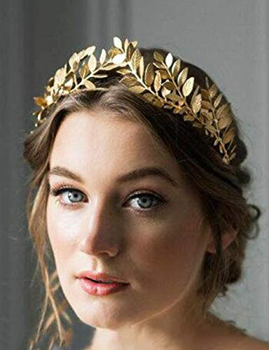 Chargances Bridal Gold Leaf Crown Headband Bridal Tiara Gold Leaf headpiece for Weeding Prom Festival Bridesmaid Hair Accessoriecs(Gold)