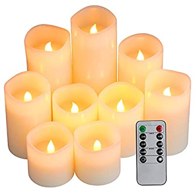 "Flameless Candles, Battery Candles Set of 9(H 4"" 5"" 6"" x D 3"") Waterproof Outdoor Indoor Led Candles with Remote Timer by Comenzar (Amber Yellow)"