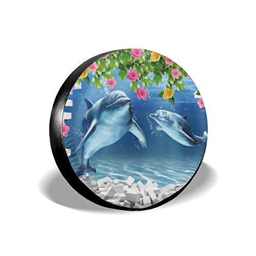 Usting Band Cover, Zonbescherming En Regen Bescherming Band Cover, Gepersonaliseerde Tire Cover,3d Vissen Aquarium Design,(4 Maten Optioneel)