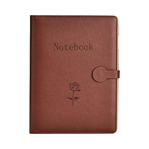 Notebook in Pelle A5,SEEALLDE Notebook di Composizione per Riutilizzabile con Tasca Travel Diary Cartella per Conferenze Notebook 240 Pagine Spesse Regali per Partner(Marrone)