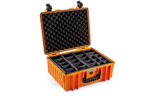 B&W 6000 - Maletín de transporte para exteriores (impermeable, certificado IP67, resistente al polvo, irrompible), color naranja