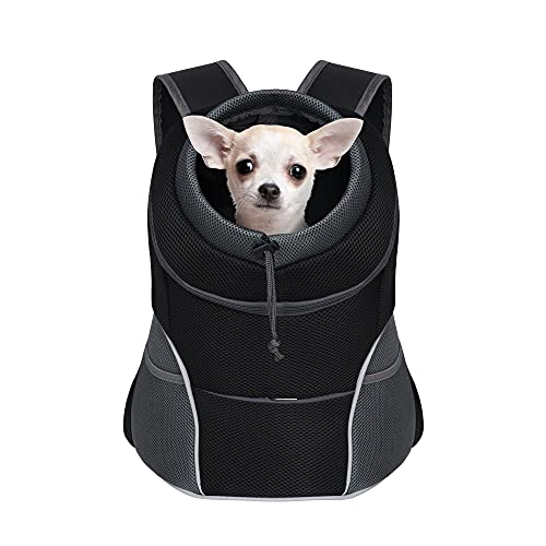 YUDODO Dog Carrier Backpack Pet Dog Carrier Front Pack Breathable Head Out Reflective Safe Doggie Carrier Backpack for Small Dogs Cats Rabbits(M(5-10lbs), Black)