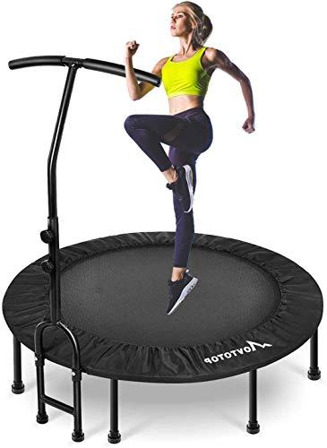 MOVTOTOP Fitness Trampolin, 40/48 inch Indoor Trampolin, Faltbar Mini Fitness Trampolin für Kinder & Erwachsene, Trampolin für Zuhause (40 INCH)