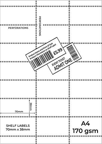 OfficeGear Boletos de borde de estante [paquete de 525] 38x70mm imprimible A4 170gsm Tarjeta 21 etiquetas para entradas de eventos, códigos de barras al por menor, precios