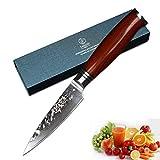 YARENH Cuchillos para Pelar 9 cm - Cuchillos Cocina de Acero de Japoneses Damasco & Mango de Madera Dalbergia,Cuchillo de Chef Ultra Filoso HTT-Serie