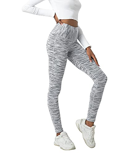 LAPASA Leggins Mujer Cintura Alta, Pantalón Deportivo Elástico, Mallas de Deporte Yoga, Leggings Largo Push Up L01A1 S Blanco+Gris