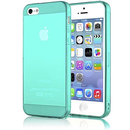 NALIA Handyhülle kompatibel mit iPhone 5 5S SE, Ultra-Slim Silikon Case Cover Schutzhülle Dünn Durchsichtig, Handy-Tasche Telefon-Schale Skin Back-Cover Smart-Phone Bumper - Türkis/Grün Transparent