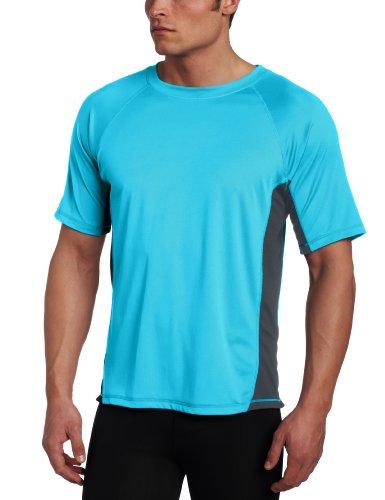 Kanu Surf Men's CB Rashguard UPF 50+ Swim Shirts (Regular & Extended Sizes), Neon Blue, 5X