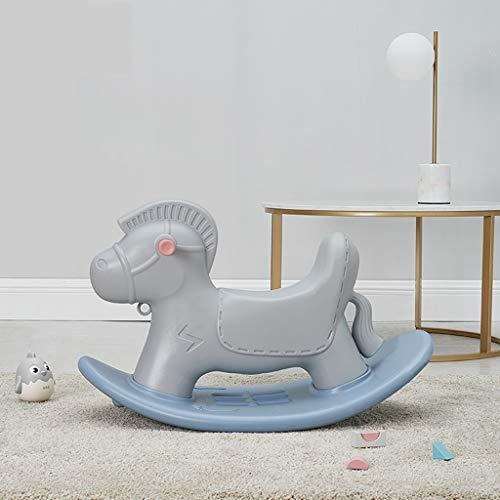 Cheval à bascule Enfants Rocking Horse Trojan Small bébé Year Old Cadeau Rocking Car Seat Toy Xuan - Worth Having (Color : Gray)
