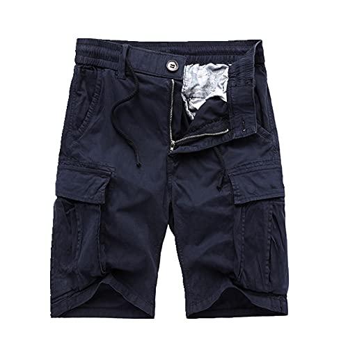 Hombres Verano Pantalones Cortos de algodón de Gran tamaño Pantalones Cortos Casuales de Color Deportivo