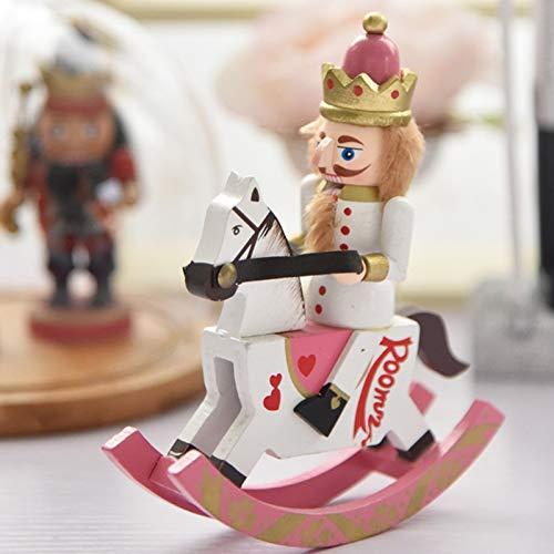 YAB 15Cm Mini Nutcracker Corps, Little Rocking Horse Decoration Decoration Birthday Gift
