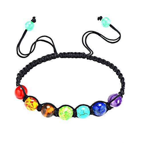 Ágata Pulsera perlas de piedra volcánica de colores de piedras preciosas Strand brazalete de gemas redondas sueltas cadena de la joyería accesorio para las mujeres hechas a mano Macrame ajustable de