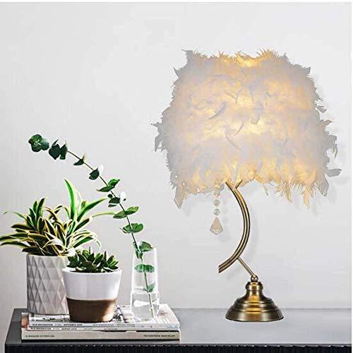 YANQING Duurzame witte Scandinavische veren tafellamp nachtlampje eenvoudige en stijlvolle tafellamp Europese stijl creatieve woonkamer decoratie slaapkamer tafellamp 35 * 58cm oplichten leven