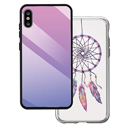 14chvier hoes compatibel met iPhone X kleur glas schilderij spiegel telefoonhoes zachte TPU silicone frame 9H gehard glas terug cover Clear Mirror iPhone X, 1X, H