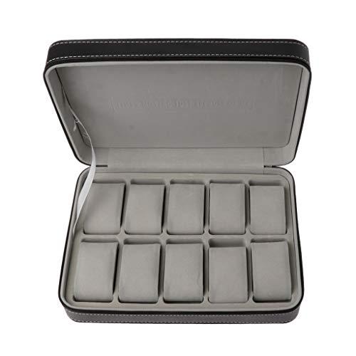 JunYe 10 sleuven Watch Zipper Travel Box Leather Vitrine Organisator sieraden opslag