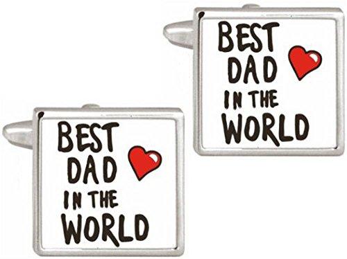 Argent / Blanc Meilleur Papa Dans Le Monde boutons de manchette de David Van Hagen