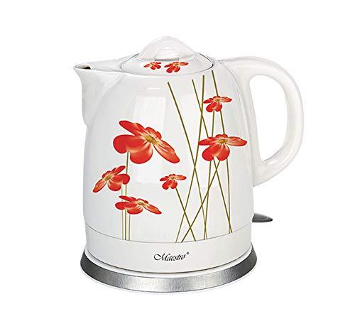 Maestro MR066 Elektrischer Keramikkessel Wasserkocher Keramik Blumendesign 1,5L (Weiß/rot)