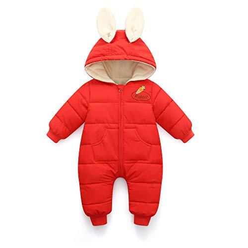 Bambino Tuta da Neve Pagliaccetto con Cappuccio Invernale Outfit Cotone Abiti Calda Maniche Lunghe Cartone Animato Coniglio 12-18 Mesi Rosso