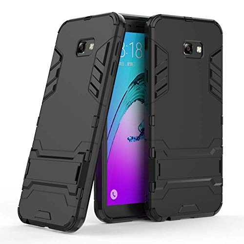 DWAYBOX Galaxy J4 Plus Armor Case 2 in 1 Hybrid Heavy Duty Armor Hard Back Case Cover with Kickstand for Samsung Galaxy J4 Plus/J4 Prime 2018 6.0 Inch (All Black)