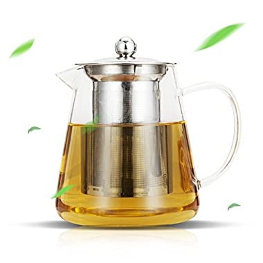 Luxtea Glass Teapot 25oz with Stainless Steel Infuser and Lid for Blooming and Loose Leaf Tea (25oz)