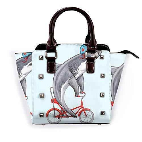 Cute Cartoon Shark Ride Bike Rivet Shoulder Bag For Women Pu Leather Tote Purses Lightweight Zipper Handbag Vintage Top Handle Satchel Bags