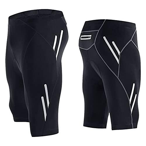 CHICLEW Pantaloncini Ciclismo da Uomo, Pantaloncini Bici MTB Imbottiti 3D, Asciugatura Rapida e Traspiranti con Tasche, Pantaloni da Bicicletta Corti